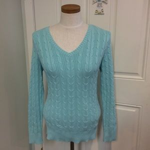 Robins egg blue sweater thick cable knit v neck
